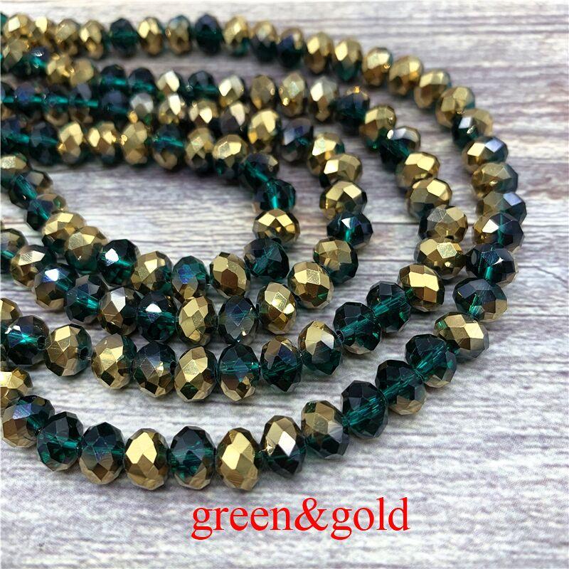 2X3/3X4/4X6/6X8 мм хрустальные бусины AB разноцветные стеклянные бусины Sapcer для ювелирных изделий ручное кольцо Ожерелье Изготовление DIY - Цвет: Green-Gold