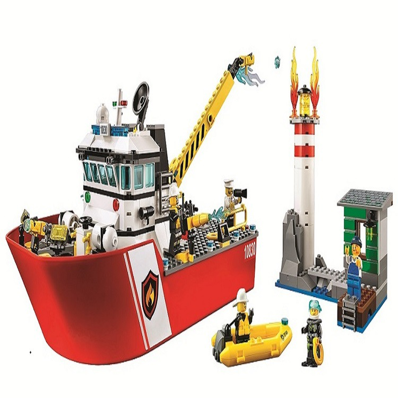 New Legoinglys City Fire Building Blocks FIRE BOAT DIY Model Bricks Ship Kids Ideas Toys Gifts Compatible with <font><b>60109</b></font> image