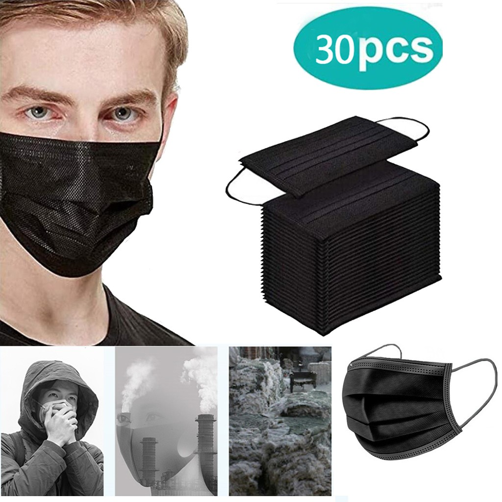 30pcs 3 Layers Non-woven Anti-Dust Anti-Saliva Mouth Maske Disposable Face Maske Protective Mouth Face Maske Cover Fast Delivery