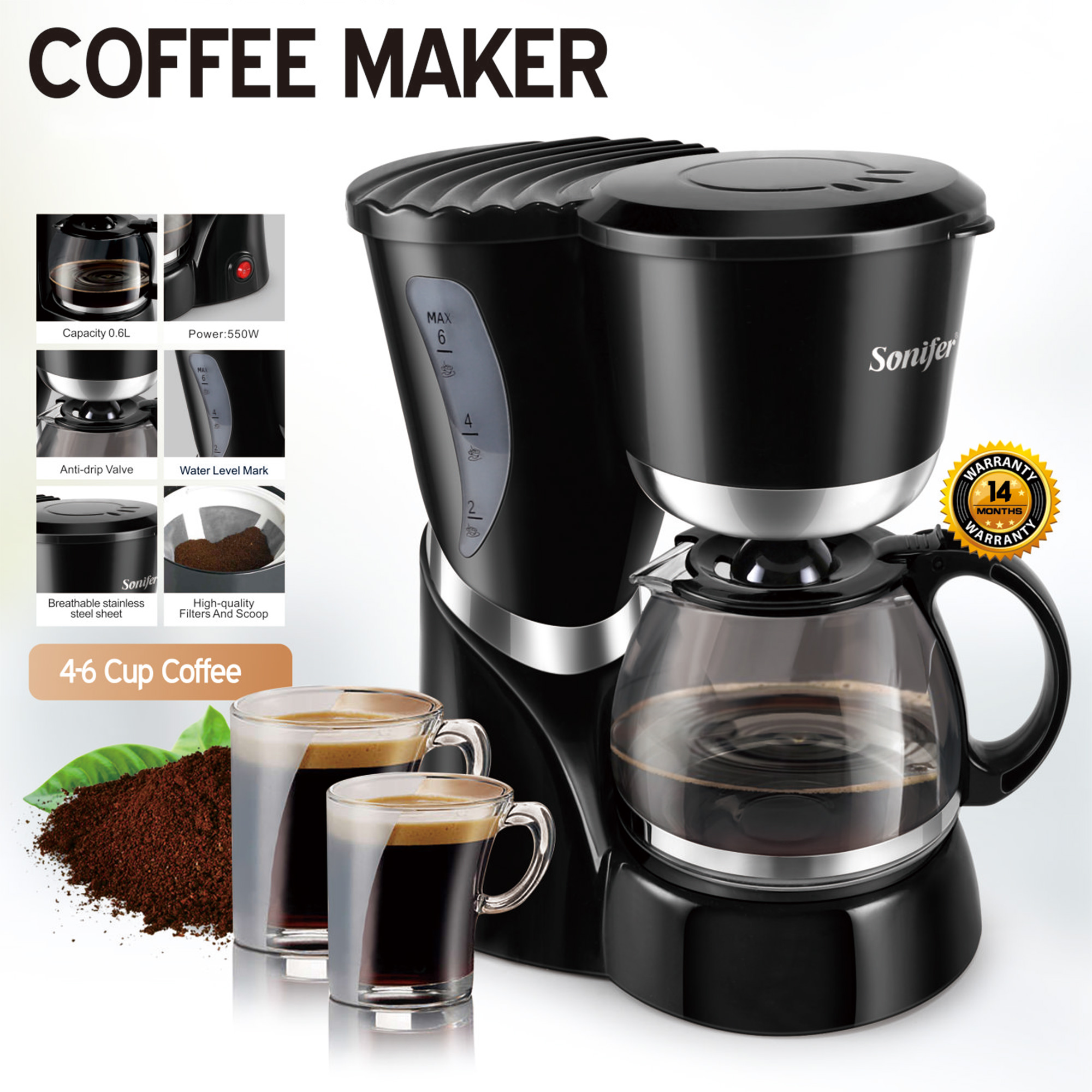 0 6l Electric Drip Coffee Maker 550w Household Coffee Machine 6 Cup Tea Coffee Pot Milk Coffee Maker For Gift 220v Sonifer Coffee Makers Aliexpress