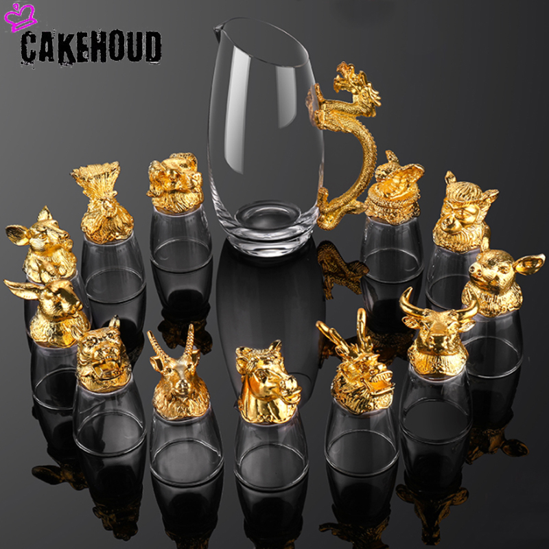Familia zodiaco chinês conjunto de vidro 13 peças