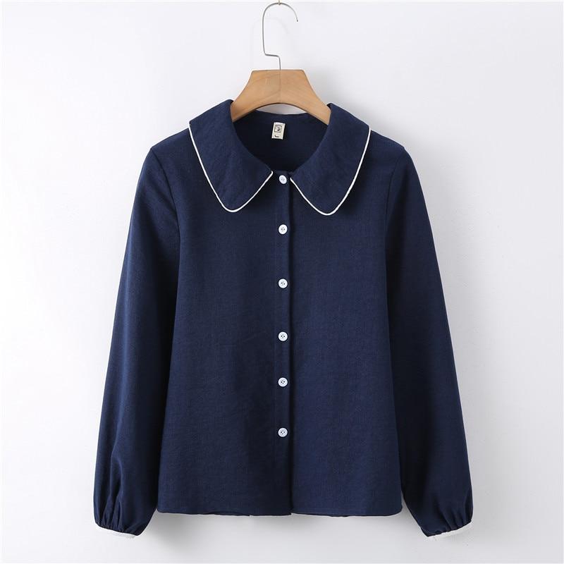 2019 New Autumn Women Shirts Peter pan Collar Full Sleeve Loose Patchwork White Render Blouse Shirt Navy Apricot 8125