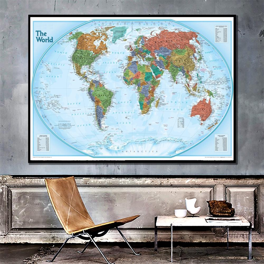 A2 Size 2011 Version The World Physical Map HD Canvas Printed Spray Painting Unframed Wall Map For Home Decor