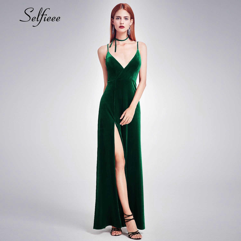 Fashion Velvet Dress Deep V-Neck Spaghetti Straps Side Split Maxi Dress Women Sexy Party Night Club Dress Vestidos De Festa 2019