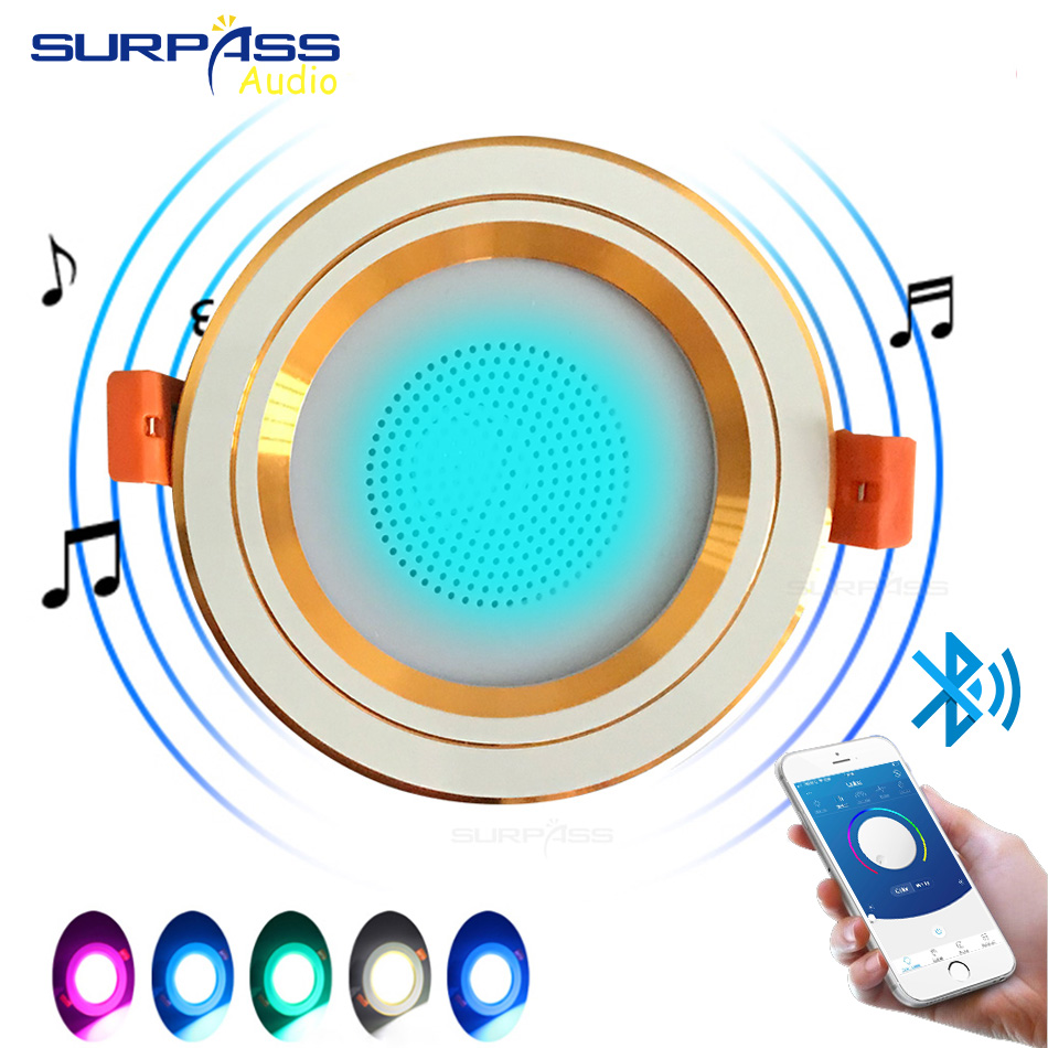 Smart Music Lamp Intelligent Background Music Light In Ceiling Speakers With Adjused Lights Smart Bluetooth Downlight Speaker