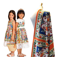 European and American style flower childrens clothing large square pattern digital printing parent-child fabric