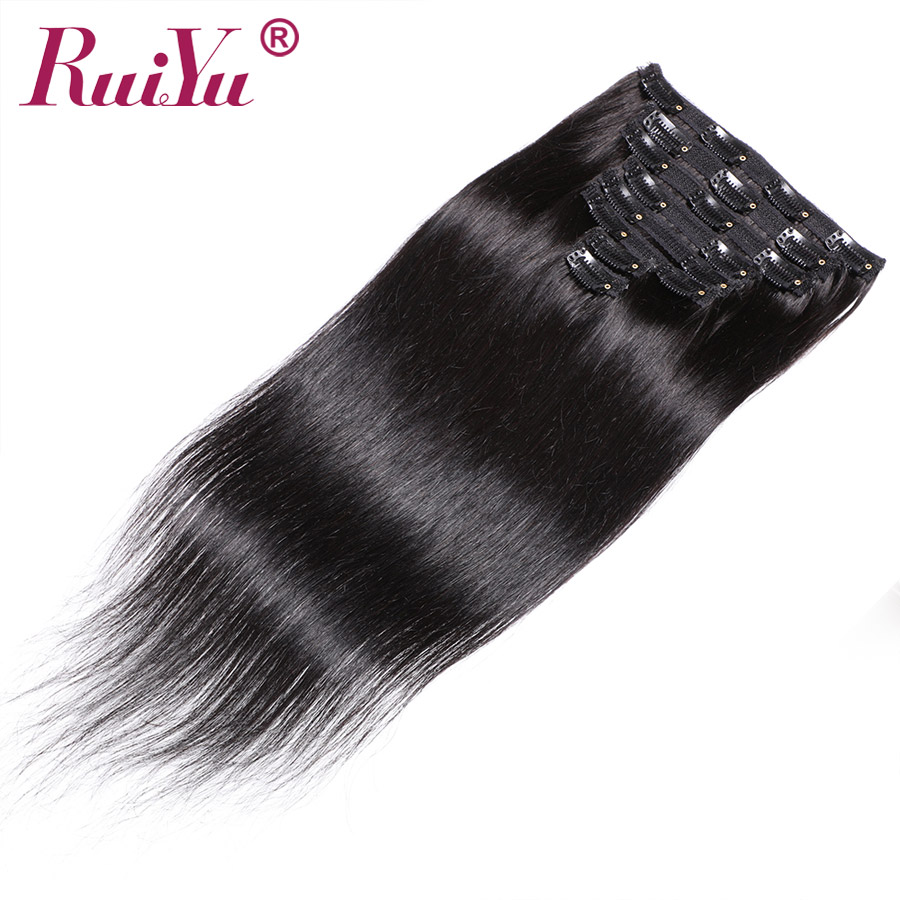 Brazilian Straight Clip In Human Hair Extensions Remy Natural Hair Clip Ins Human Hair Clip In Extensions RUIYU Hair 10 28 Inch|  - title=