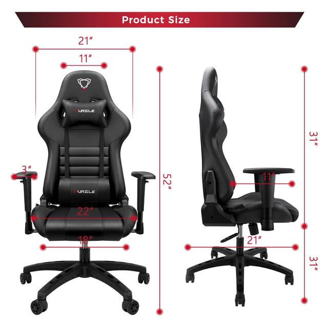 Furgle Gaming Chairs Office Chair Computer Chair with High-back Synthetic Leather Internet Chair Racing Chair for Desk Chair 2