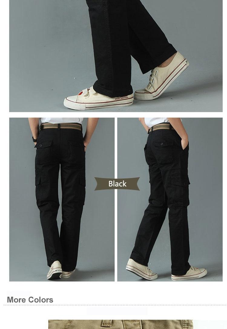 KSTUN New Men's Cargo Pants Casual Overalls 100% Cotton Straight Cut Male City Military Tactical Pants Men Loose Fit Trousers No Belt 22