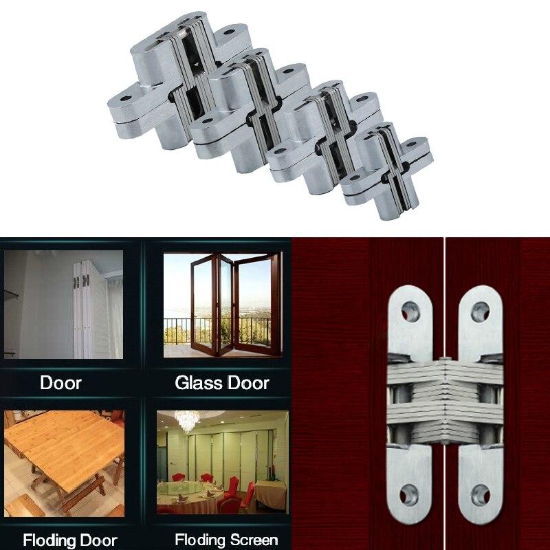 Zinc Alloy Hidden Hinge Invisible Folding Door Concealed Cross Hidden Hinges Furniture Hardware Folding Door 94mm