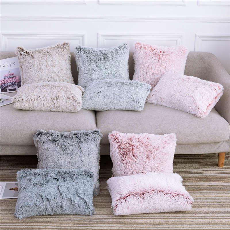 Soft Comfortable Fluffy Solid Plush Square Winter Cushion Cover Modern Throw Pillow Case  Car Sofa Decor Supplies 45*45cm