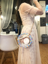 Woven Bag Acrylic Transparent Round Ins with The Package Diy Cotton Line Handmade Cloth Fashion Messenger For Women
