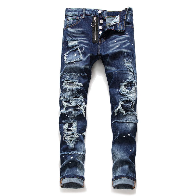 Dark Blue Denim Bike Jeans Men Fashion Ripped Destroy 2019 Autumn Winter Straight