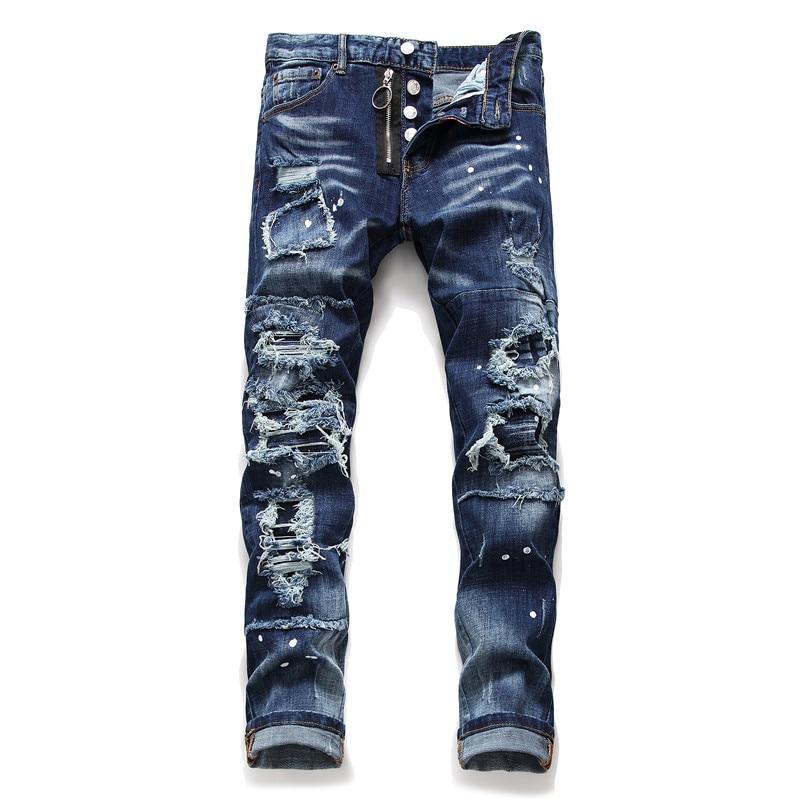 Dark Blue Denim Bike Jeans Men Fashion Ripped Destroy 2019 Autumn Winter Straight