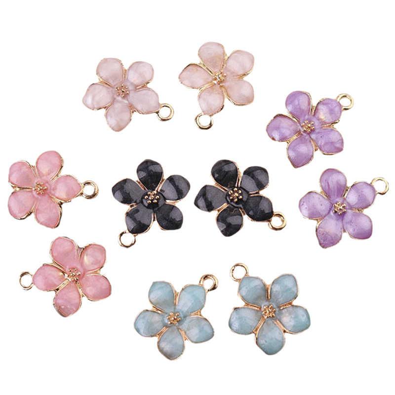 10 個ハイビスカス Mutabilis 美しい花のペンダント合金エナメルチャーム Diy アクセサリーネックレスブレスレット頭飾り