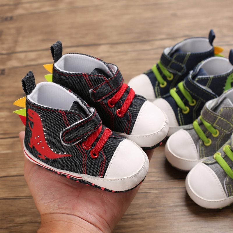 0-18M Newborn Baby Cute Boys Girls Canvas Cartoon Dinosaur First Walkers Soft Sole Baby Shoes Toddler Anti-sllip Sneakers
