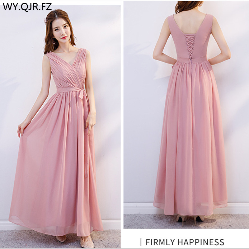 XMFS-75A#Gary Bridesmaid Dress Long Lace Up Chiffon Bra V-neck Etc 6 Style Wedding Party Prom Dresses  Girl Cheap Wholesale