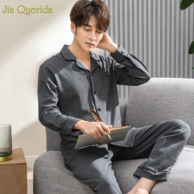 High Quality Brand Pajams Male 100% Cotton Sleepwear Grey Solid Luxury Home Clothing Long Sleeve Winter Pajamas Men Pajama Sets