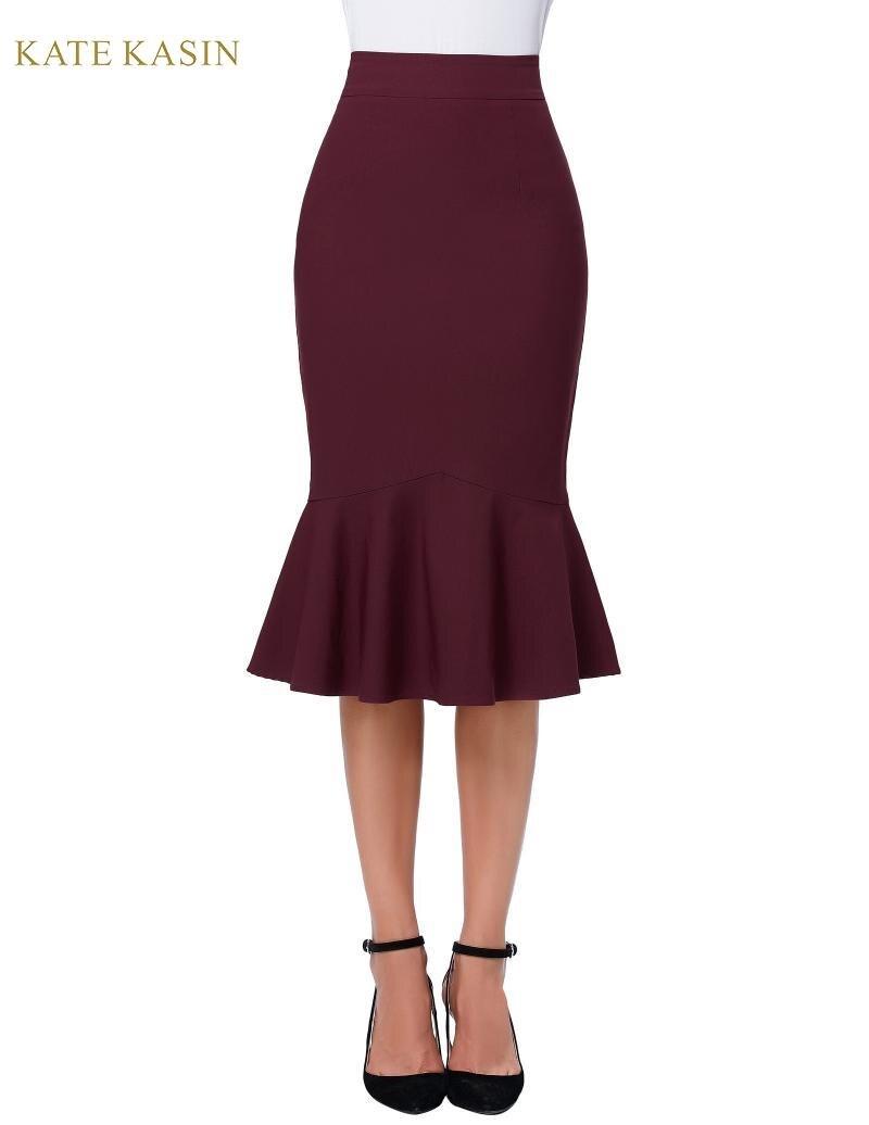 Kate Kasin Women Elegant Knee Length High Waist Mermaid Pencil Skirt Solid Bodycon Business Wear Classy Ladies Office Skirt 2019