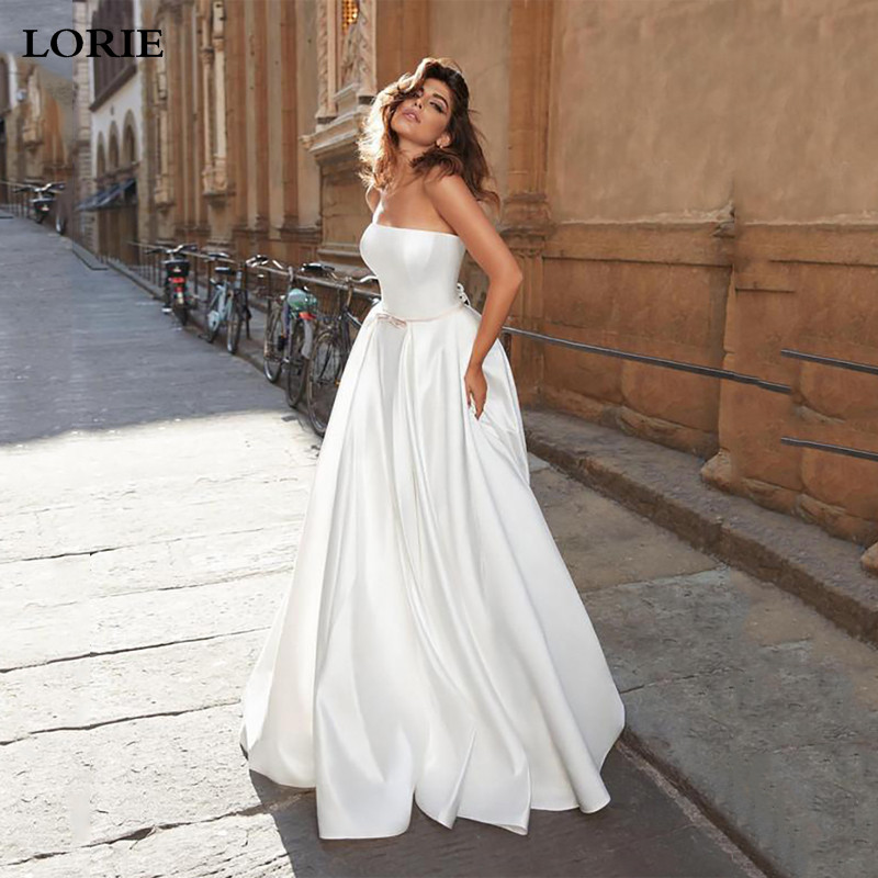 Lorie  Boho A Line Satin Wedding Dresses Strapless Bride Dresses Vestido De Novia Elegant Corset Wedding Gown