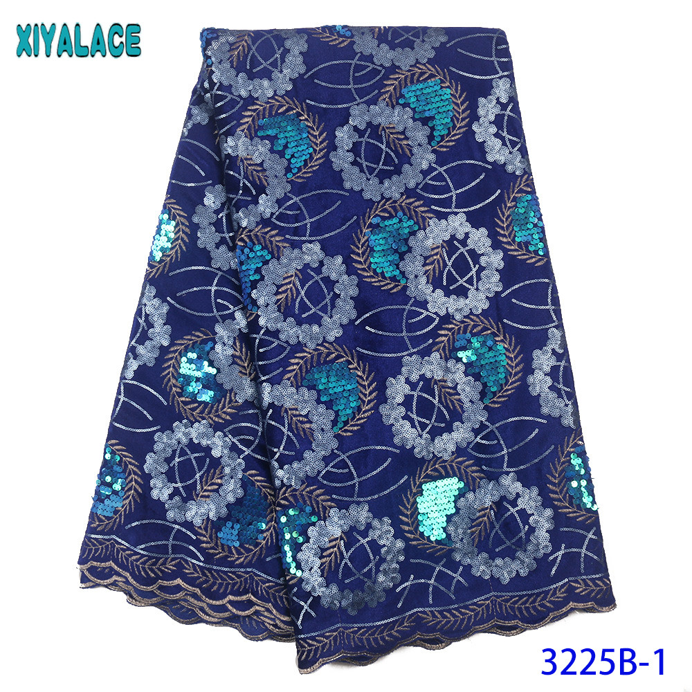 Velvet Lace Fabric 2020 Royal Blue Sequins Fabric Lace Hot Sale French Embroidered Laces For African Cloth Dresses KS3225B