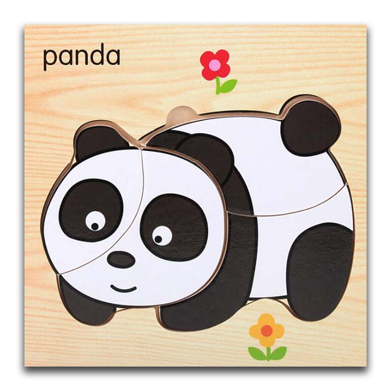 Cartoon Panda Wooden Animal Transportation 3d Puzzle Jigsaw Wooden Toys For Intelligence Kids Baby Early Educational Toy