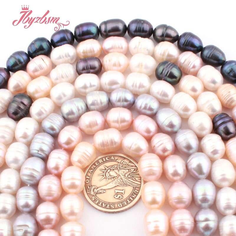 """9-11mm perles ovales de perles d'eau douce de culture perles de pierre naturelle pour les femmes collier à faire soi-même bracelet boucles d'oreilles fabrication de bijoux 15"""""""