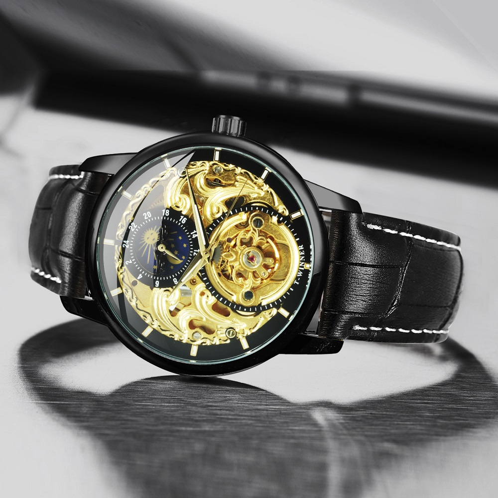 WINNER Official Automatic Watch Men Brand Skeleton Mechanical Mens Watches Leather Strap Moon Phase Fashion Luxury Wristwatch