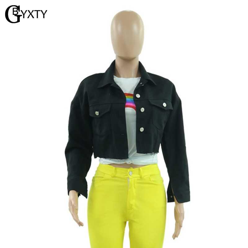 GBTXTY chaqueta mujer chaqueta vaquera negra Color caramelo suelta manga larga recortada chaqueta de mezclilla Streetwear Jeans chaqueta ZL527