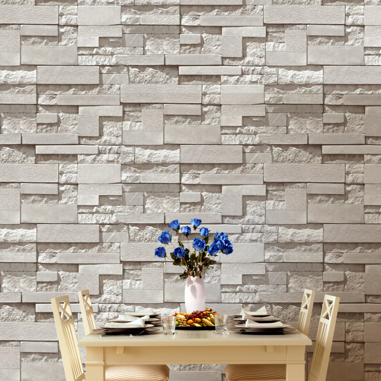 Modern Stacked Brick 3d Stone Wallpaper Roll Grey Brick Wallpaper Wall Background Wallpaper For Living Room Pvc Vinyl Wall Paper 3d Stone Wallpaper Brick Wallpaperstone Wallpaper Aliexpress