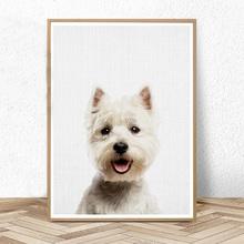Pies ściana drukowany obraz West Highland White Terrier zdjęcie przedszkole dekoracje z wzorami zwierząt ściana Arat płótno malowanie dzieci dekoracja sypialni tanie tanio ephany CN (pochodzenie) Płótno wydruki Pojedyncze Wodoodporny tusz Unframed Nowoczesne L339 Malowanie natryskowe Pionowe Prostokąta
