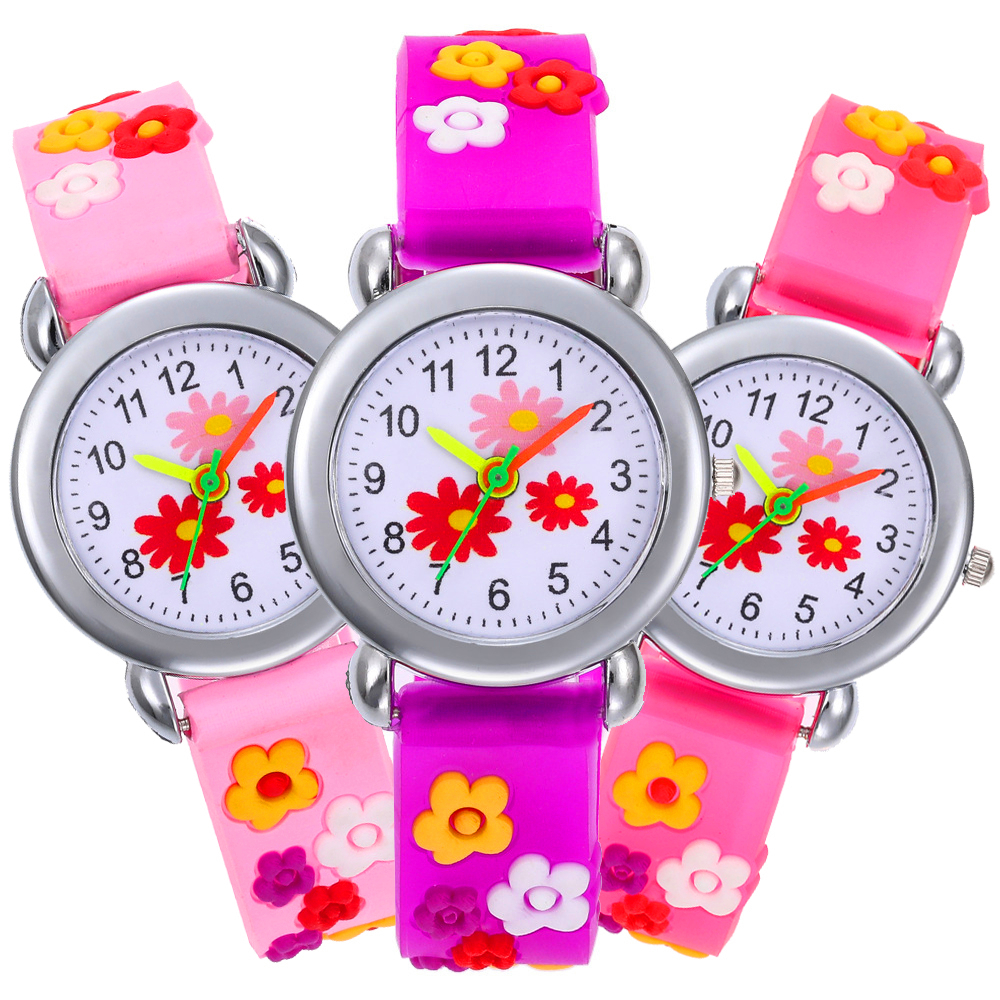 3 Flowers Alloy Dial Baby Students Clock Child Quartz Wristwatch Kids Watches Girls Bracelet Children Watch Boys Birthday Gift