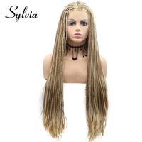 Sylvia Blonde Highlight Light Blonde Big Braided Box Braids Synthetic Lace Front Wigs Natural Braiding Heat Resistant Fiber Hair