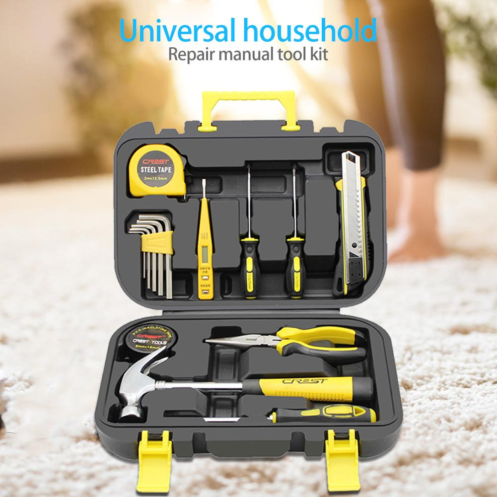 16pcs Repair Hand PE Toolbox Wrench+Screwdriver+Pliers+Toolbox+Digital Pen+Horn Hammer Electrical Tape Pointed Tongs