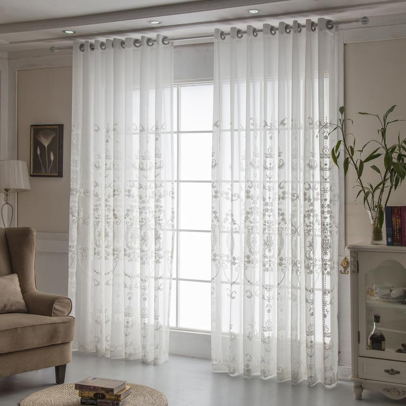 Europe White Curtains Tulle  Window Curtains for Living Room Bedroom Cotton  Voile Sheer Curtains for Window Screening Drapes Curtains     - title=
