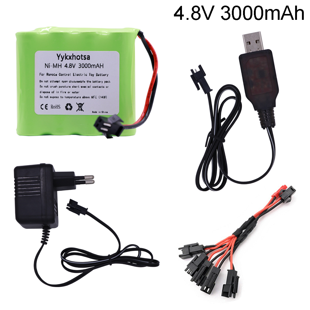 4.8V 3000mah NiMH Battery SM Plug And Charger For Rc Toys Cars Tanks Robots Boats Guns Ni-MH AA 4.8 V Battery Pack Toy Accessory