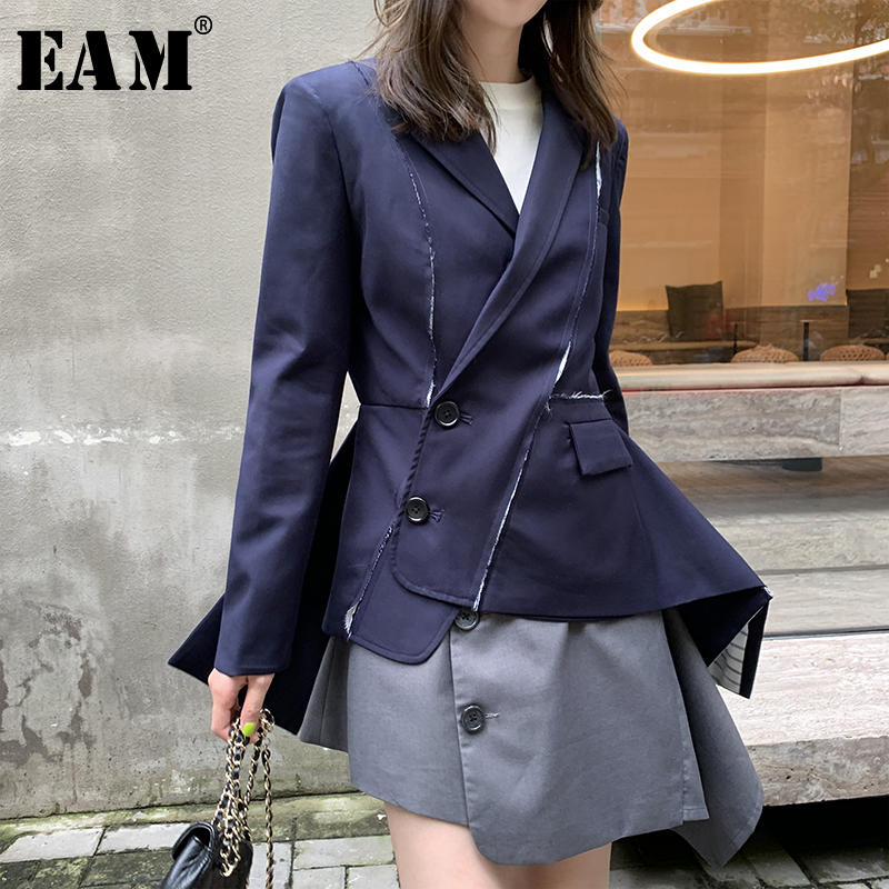 [EAM]  Women Asymmetrical Contrast Color Long Blazer New Lapel Long Sleeve Loose Fit  Jacket Fashion Spring Autumn 2020 1R377