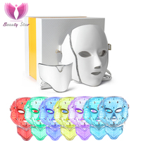 Beauty Star 7 Color LED Facial Neck Mask Micro current LED Photon Mask Remove Wrinkle Acne Skin Rejuvenation Face Beauty Machine beauty machine skin rejuvenation led facial -