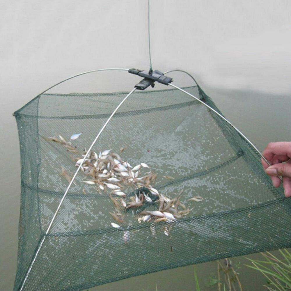There Is Improved Version 4 Side 60-100 Cm, Fish, Shrimp, Crab, Nylon Bait Fishing Net Folding Easy To Wear Fishing Net
