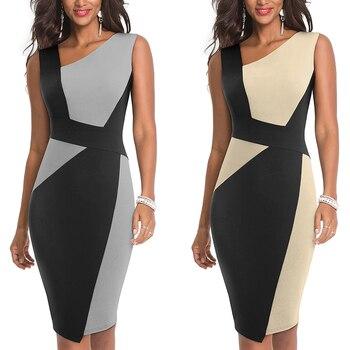 2020 Asymmetrical Collar Dress Elegant Casual Work Office Sheath Slim Dress 3