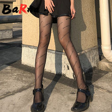 Alta qualidade das mulheres sexy collants impresso carta meia-calça transparente meias de rede de peixe meias malha tatuagem estampado collants