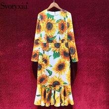 Svoryxiu Sunflower Flower Print Runway Autumn Party Mermaid Dresses Womens Long Sleeve O-Neck Sexy Slim Midi Dress Vestdios