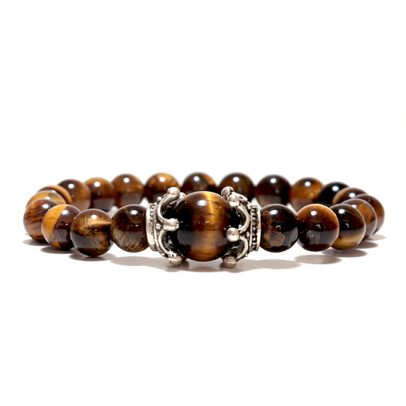 Noter Natural Tiger eye Bracelets Men Antique Crown Braslet 8mm Obsidian Lava Stone Brazalete Male Accessories Pulseira Armband