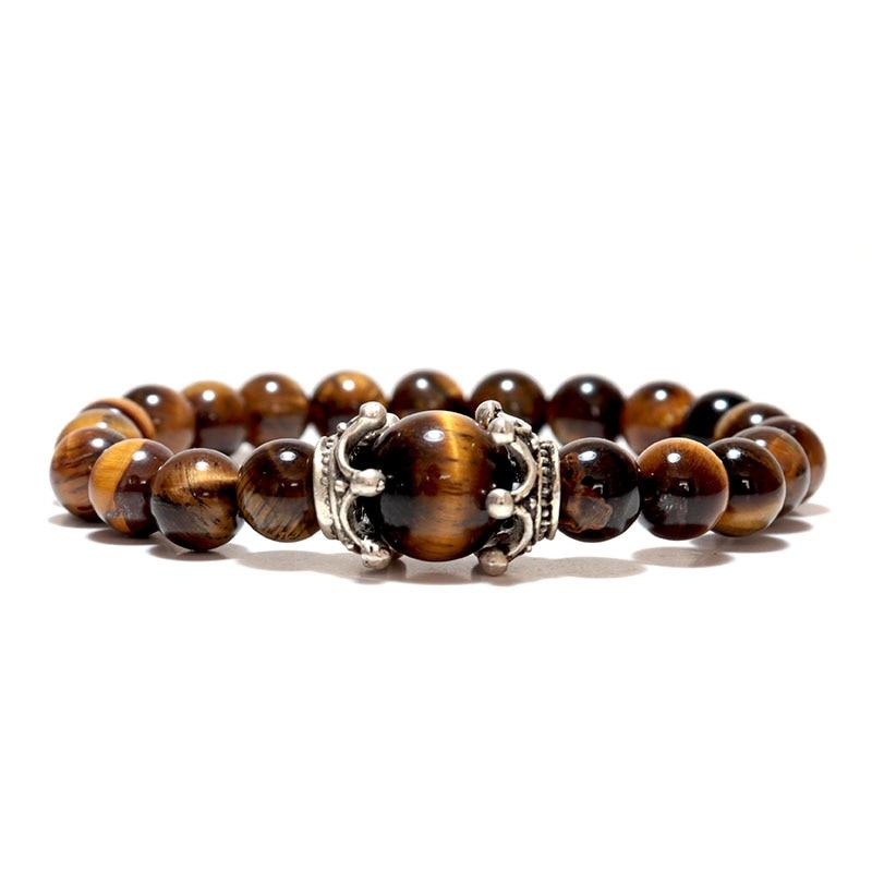 Noter Natural Tiger eye Bracelets Men Antique Crown Braslet 8mm Obsidian Lava Stone Brazalete Male Accessories Pulseira Armband