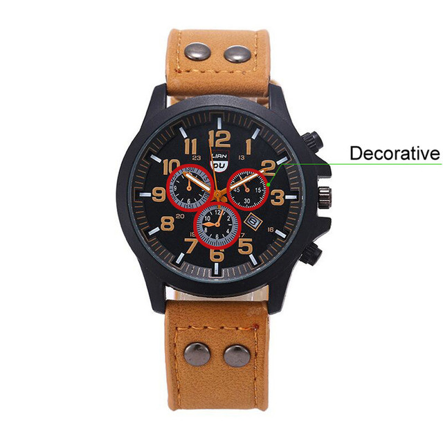 Military Leather Waterproof Date Quartz Analog Army Men's Quartz Wrist Men's watch Wrist Party decoration suit Dress Watch gifts Uncategorized Fashion & Designs Ladies Shoes Women's Fashion