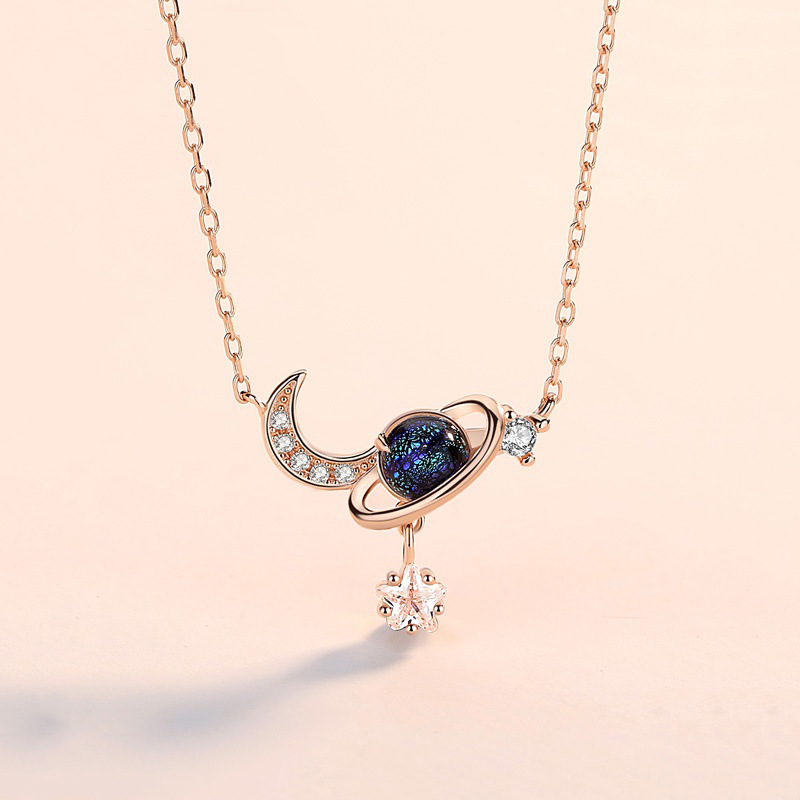 925 Sterling Silver Pendant Necklace Chain For Women Star And Moon Light Luxury Dream Planet Stylish Fashion Choker Fine Jewelry