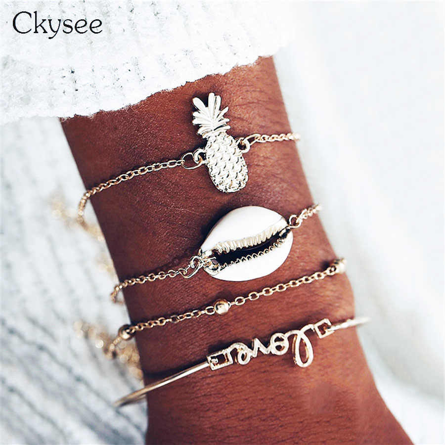 Shell Feather Bracelet Bangle Moon Five Star Eyes Mix Charm Bracelets for Women Boho Tassel Bead Bracelet Jewelry Wholesale
