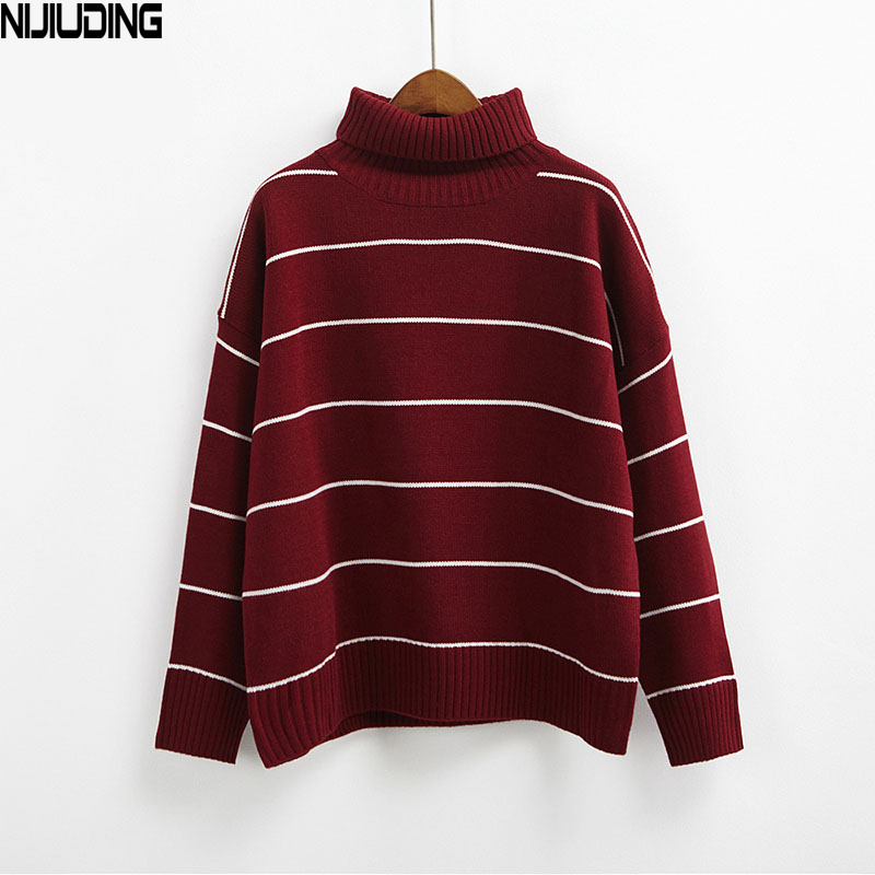 NIJIUDING 2019 New Arrival Women Casual Pullovers Sweaters Knitted Sweater Autumn Loose Striped Turtleneck Sweaters 6 Colors turtleneck sweater pullover sweater sweater knit - title=