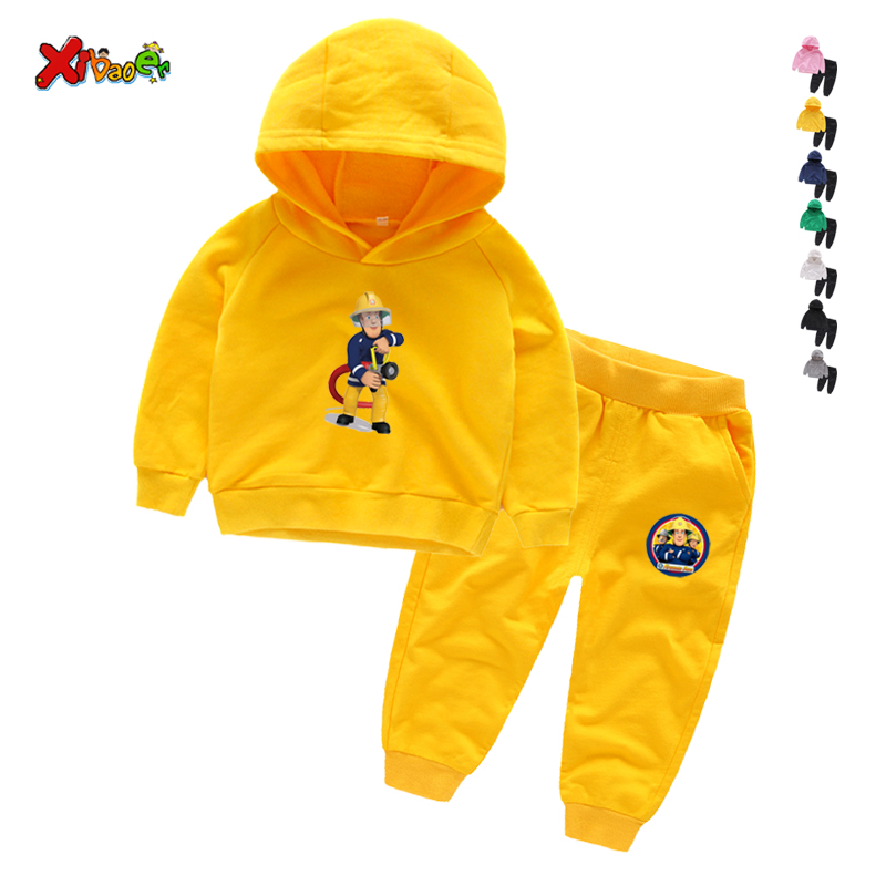 Children Winter Clothes Baby Boys Cartoon Clothing Sets Fireman Sam Pattern Print Cartoons Sweatsets for Boys Girls Kids Clothes 3