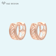 S&Z DESIGN New Arrivals Vintage Hollow Ethnic Style 585 Rose Gold Stud Earrings For Women Girl Wedding Party Fashion Jewelry(China)